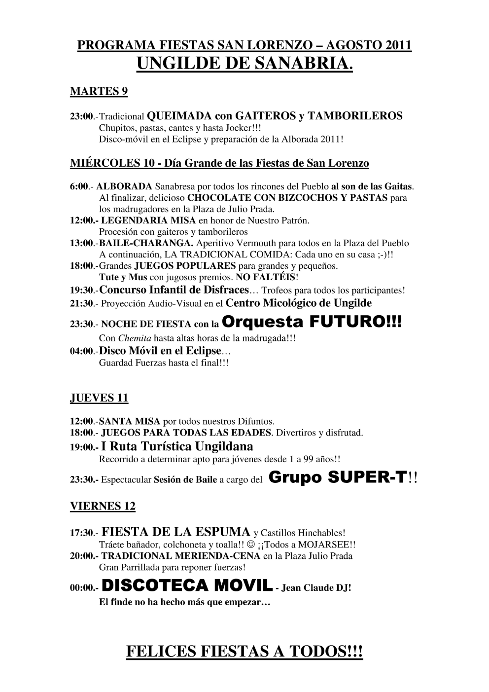 Programa fiestas Ungilde 2011